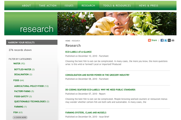 Faceted filters on the research page