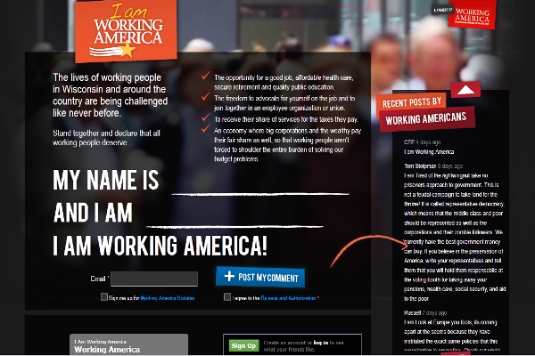 I Am Working America home page