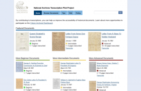 National Archives Transcription Pilot Program