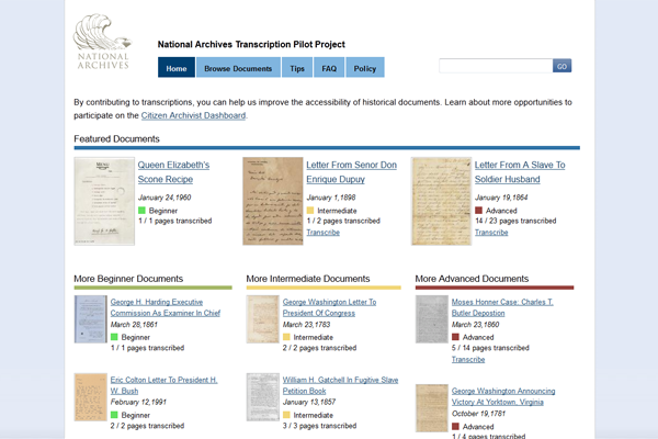 National Archives Transcription-Home