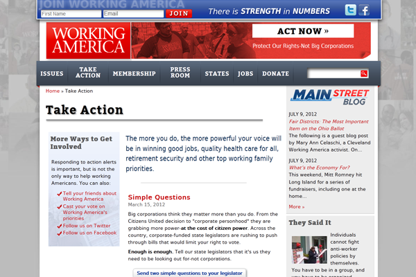 Working America-Take Action